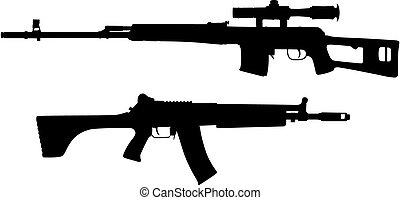 Vector illustration of guns silhouettes (High detail)