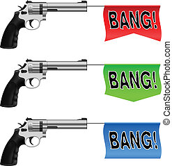 Guns with Bang Flags. Illustration on white background