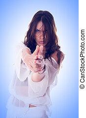 Gunshot - Knitted brow girl simulate holding the gun