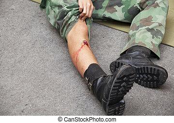 gunshot wound  - Gunshot wound on soldier's leg