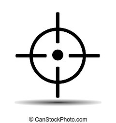 gunsight flat vector icon on light background with shadow