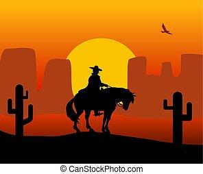 gunslinger, レインコート, 西, 野生, 背景, desert., 乗馬, horse.