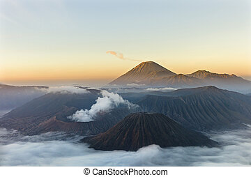 Gunung Bromo Volcano - Sunrise over Gunung Bromo Volcano in...