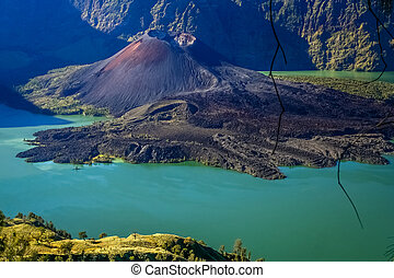 Gunung Rinjani volcano - Crater of Gunung Rinjani volcano on...