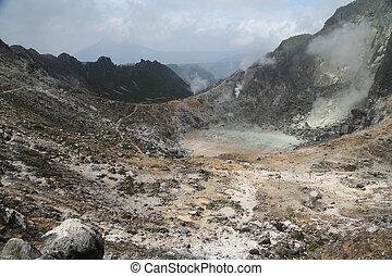 Gunung Sibayak Volcano crater - Gunung Sibayak volcano in...