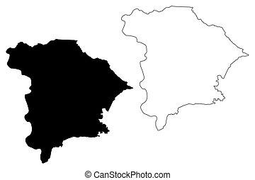 Gurabo municipality (Commonwealth of Puerto Rico, Porto Rico, PR, Unincorporated territories of the United States) map vector illustration, scribble sketch Gurabo map