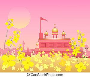 gurdwara at sunset - an illustration of an ornate gurdwara...