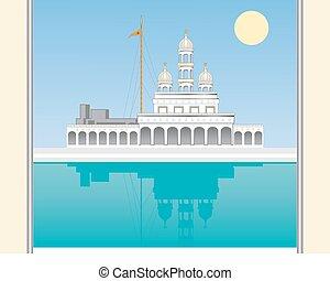 gurdwara gate - a vector illustration in eps 10 format of a...