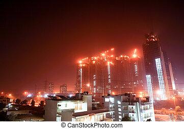 gurgaon, tiro, construção, arranha-céu, noturna