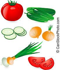 gurke, und, fleischtomaten, zwiebel