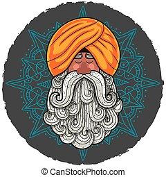 Guru - Cartoon portrait of Indian guru with big beard.