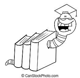 gusano, libros, graduado, contorneado