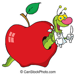 gusano, manzana, caricatura