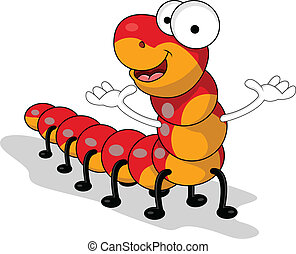 gusano, rojo, caricatura
