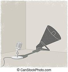 guss, mikrophon, megafon, schatten