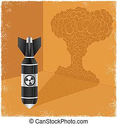 guss, nukleare bombe, schatten, wolke, explosion