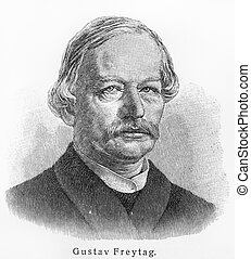 Gustav Freytag - Picture from Meyers Lexicon books written in German language. Collection of 21 volumes published between 1905 and 1909.