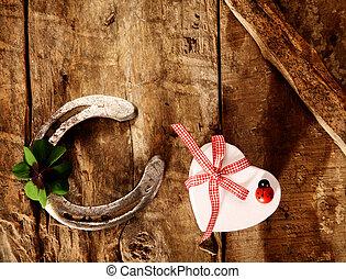 gut glück, für, valentine, schatz