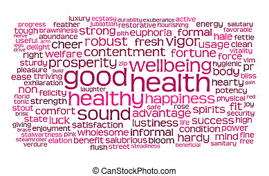 gute gesundheit, wort, oder, etikett, wolke