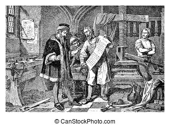 Gutemberg working in his print workshop - Johannes Gutemberg...