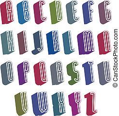 guten, alphabet., geformt, einfache , stil, briefe, schriftart, 3d
