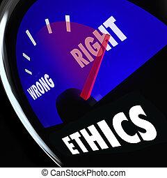 guten, bewußt, schlechte, falsche , recht, messgerät, verhalten, messen, ethik