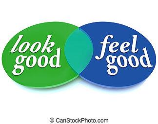 guten, blick, fühlen, erscheinen, diagramm, vs, gesundheit, venn, gleichgewicht