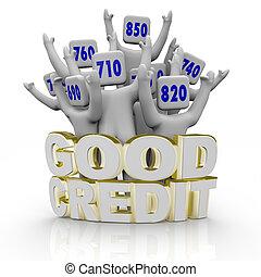 guten, hurrarufen, leute, -, kredit, spielergebnisse