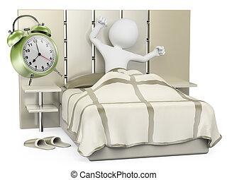 guten, leute., auf, aufwachen, weißes, morning., 3d