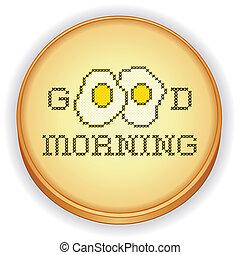 guten morgen, mit, eier, stickerei