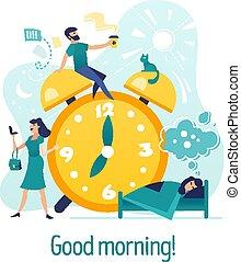guten, morning., kreativ, begriff, mit, charaktere