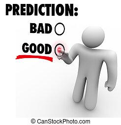 guten, voraussage, erwartung, schlechte, vs, wählen, wörter, zukunft
