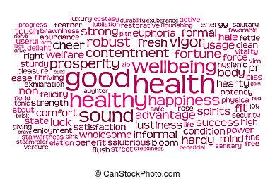 guten, wort, etikett, gesundheit, oder, wolke