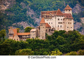 Gutenberg Castle on hilltop in summer, Balzers, ...
