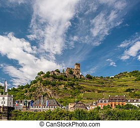 Gutenfels Castle and vineyards at Rhine Valley near Kaub,...
