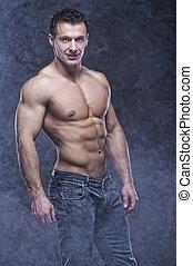 gutes anschauen, bodybuilder, posierend