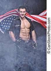 gutes anschauen, polizist, posierend