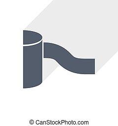 Gutter flat design vector icon