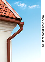 Gutter - Red tiled roof and gutter