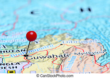 Guwahati pinned on a map of Asia