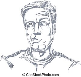 guy., イメージ, 疑い, disbeliever., 若い, イラスト, 懐疑論者, hand-drawn, ...