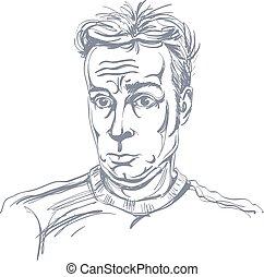 guy., イメージ, 若い, イラスト, hand-drawn, ベクトル, 黒, 衝撃を与えられた, モノクローム, 白, 驚かされる, man.