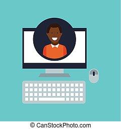 guy afroamerican community social network vector...