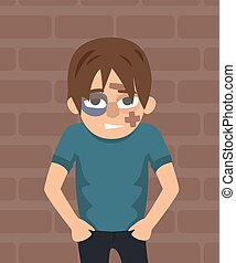 guy after the fight with black eye vector cartoon