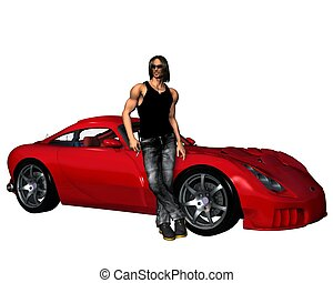 Guy and Car