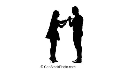 Guy and girl are arguing, they have a scandal. Silhouette. White background