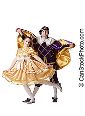 Guy and girl dressup as Prince and Princess isolated on a white background