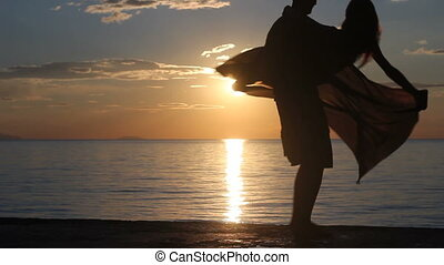 guy and girl. silhouette