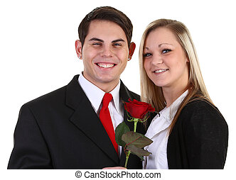 guy and girl with a rose