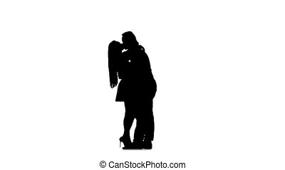 Guy and the girl are kissing. Silhouette. White background. Slow motion